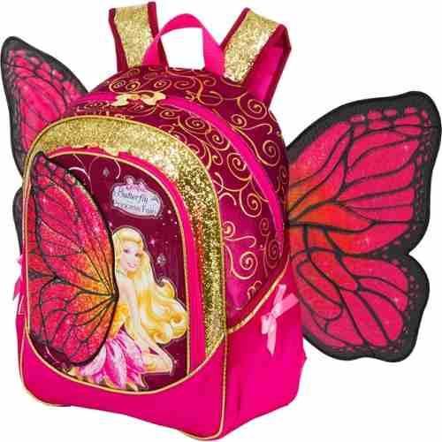 Mochila da Barbie modelo Butterfly com asas rosa e dourada