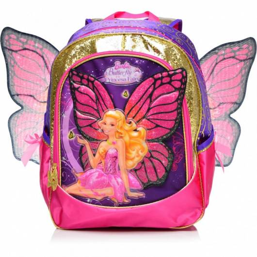 Mochila da Barbie modelo Butterfly com asas rosa e roxa de costas