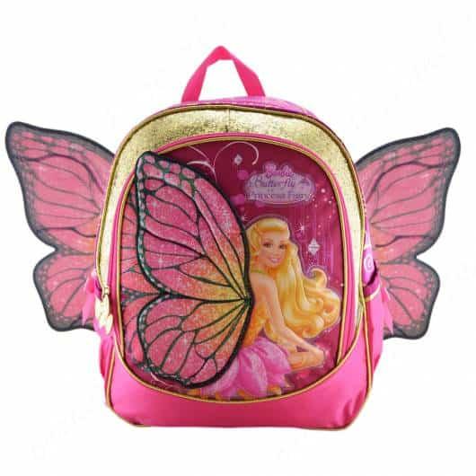 Mochila da Barbie modelo Butterfly com asas de costas rosa e dourada