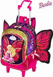 Mochila da Barbie modelo Butterfly com asas rosa, roxa e dourada com rodinhas