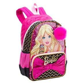 Mochila da Barbie modelo Rock preta e rosa com lacinho