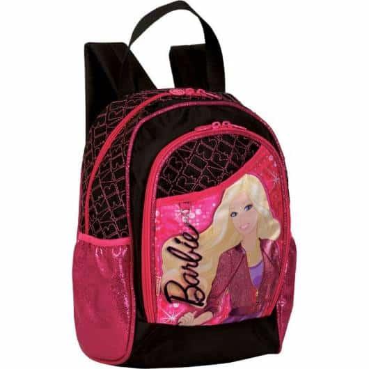 Mochila da Barbie modelo Rock preta e rosa de costas