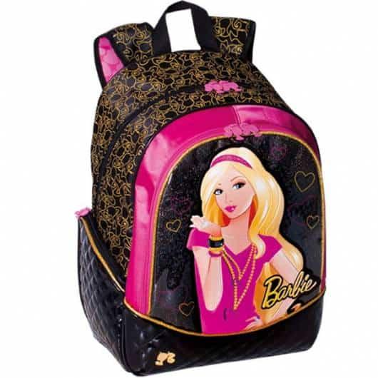 Mochila da Barbie modelo Rock preta, rosa e dourada de costas