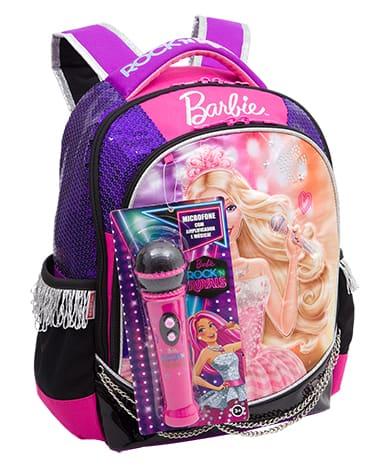 Mochila da Barbie modelo com microfone rosa e roxa