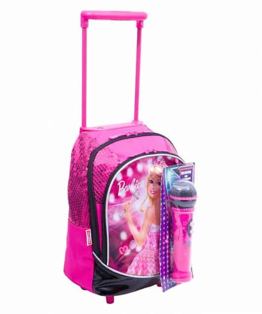 Mochila da Barbie modelo com microfone rosa e preta com rodinha