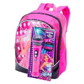 Mochila da Barbie modelo com microfone rosa e preta de costa