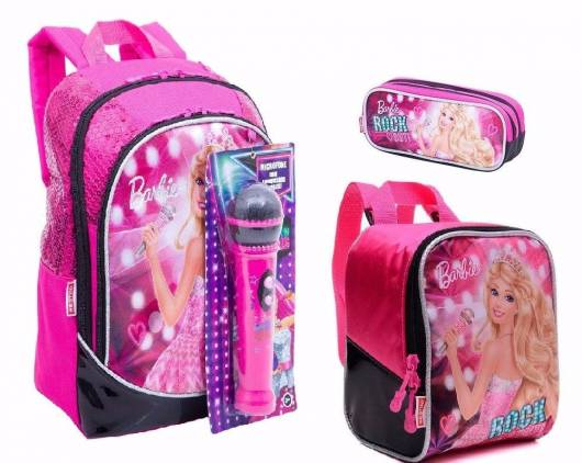 Mochila da Barbie modelo com microfone rosa e preta com lancheira
