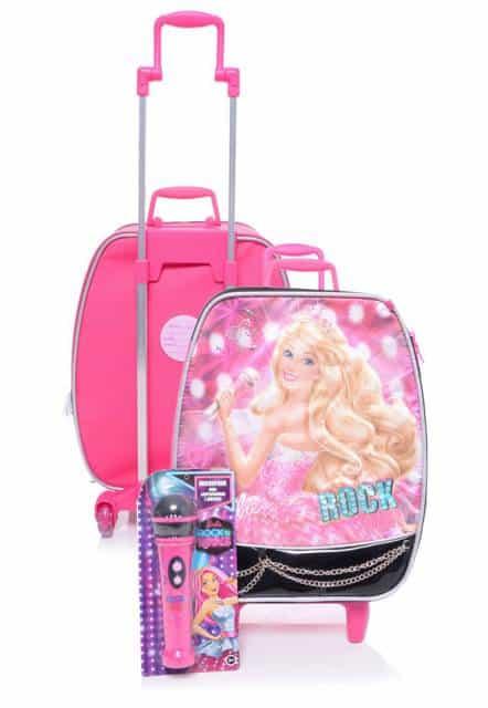 Mochila da Barbie modelo com microfone rosa com rodinha