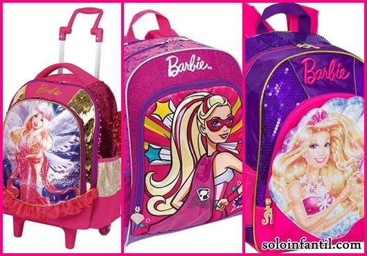 Mochila da Barbie modelos de rodinha e costas rosa e roxa