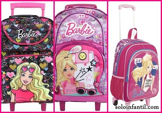 Mochila da Barbie modelos de rodinha rosa e preta