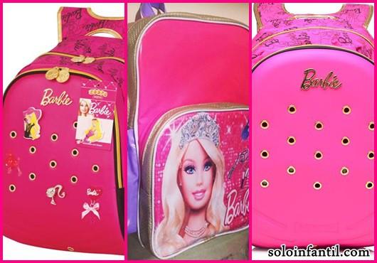Mochila da Barbie modelos de costas rosa e douradas