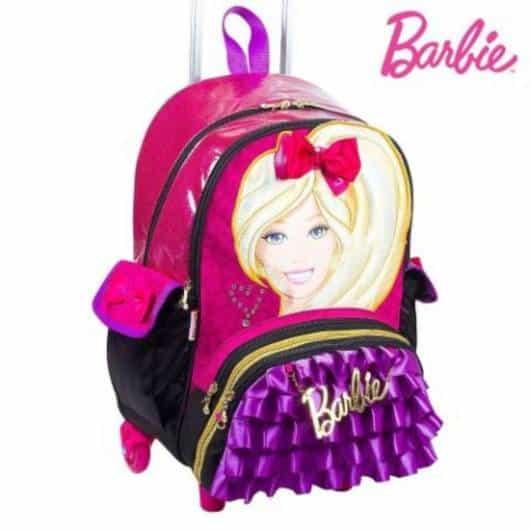 Mochila da Barbie modelo de rodinha com lacinho