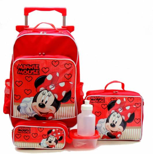 mochila vermelha com kit de lancheira, estojo e garrafinha