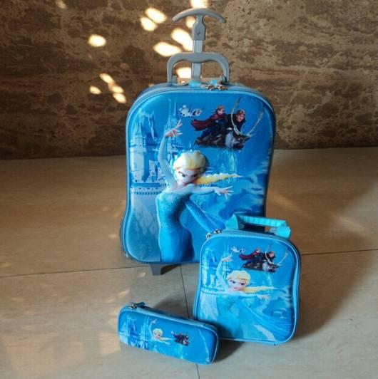 kit mochila e lancheira azul