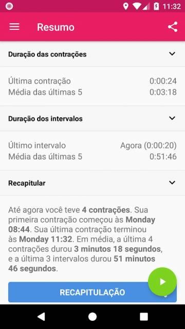 app Contrações Temporizador