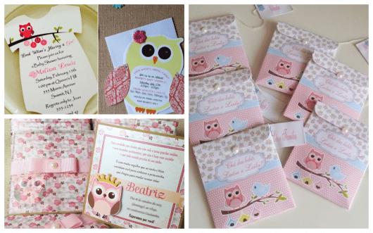 convites de corujas para chá de bebê