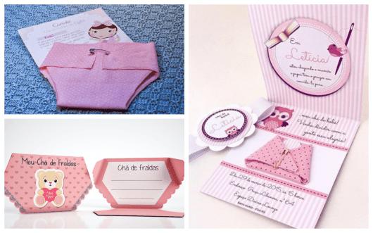 convites femininos chá de fraldas