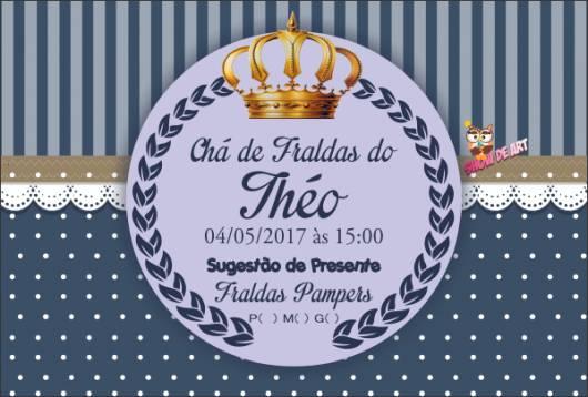 convite chá de fraldas príncipe