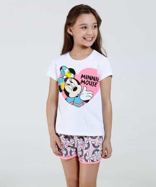 Pijama Disney Infantil da minnie mouse branco