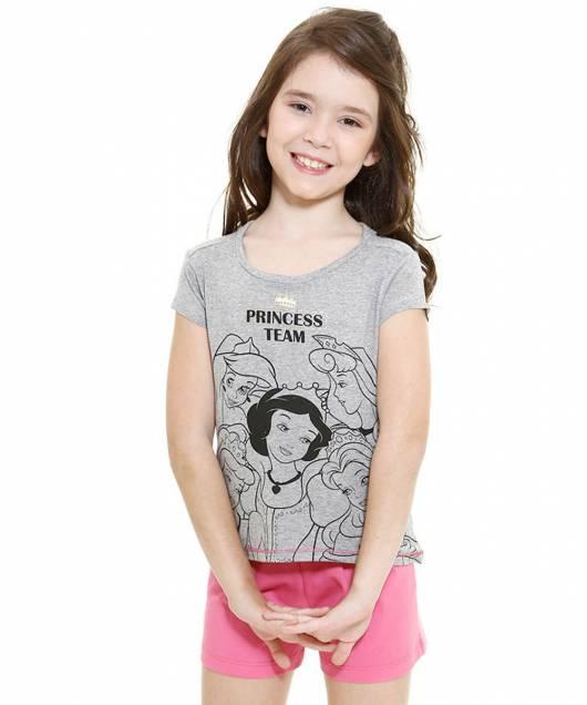 pijama Disney infantil princesas shortinho curto