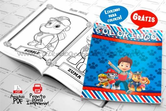 Livro infantil para colorir Patrulha Canina