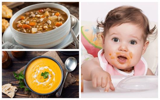 alimentação com sopas para bebes