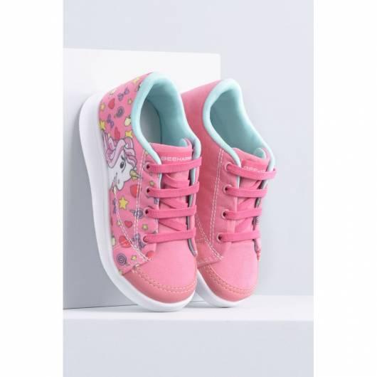 tênis rosa e azul
