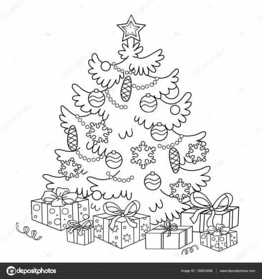 50 Árvores De Natal Para Colorir & Imprimir Grátis Para As