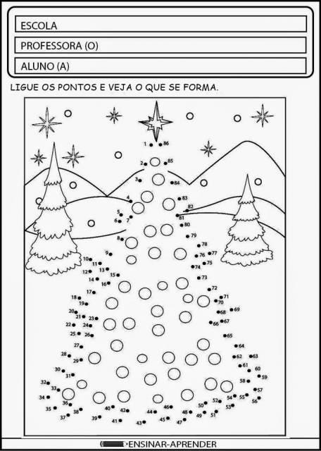 Atividades de Natal para alfabetização de ligar pontos