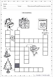 Atividades de Natal para Ensino Fundamental palavras cruzadas