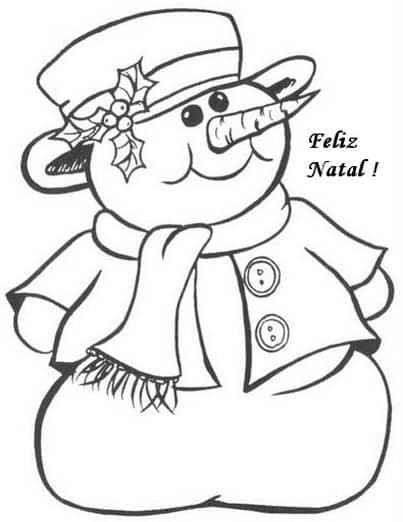 Atividades de Natal para colorir com boneco de neve