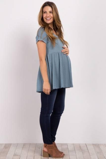 look grávida bata azul