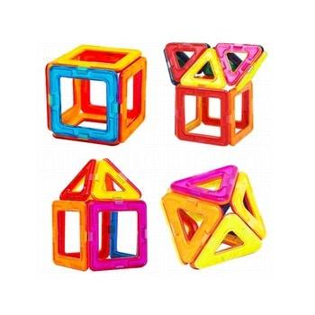 Brinquedo Montessori de madeira: blocos magnéticos de montar