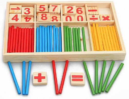 Brinquedo Montessori de madeira: palitinhos para contas matemáticas