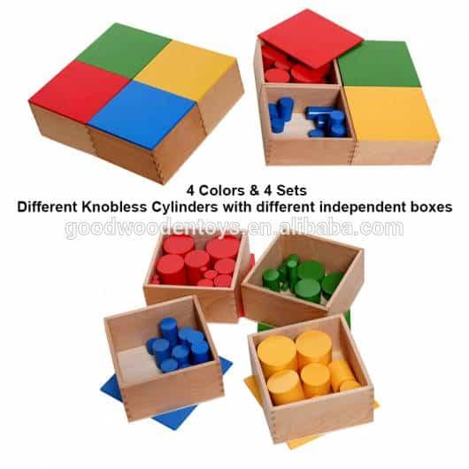 Brinquedo Montessori de madeira: peças coloridas de tamanhos diferentes