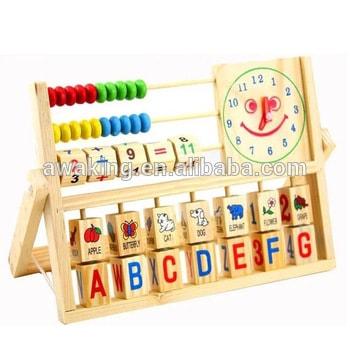 Brinquedo Montessori de madeira: ábaco com letras, figuras e números