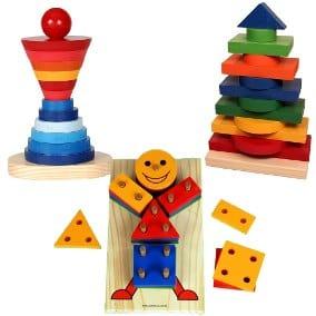 Brinquedo Montessori de madeira: boneco de formas diferentes