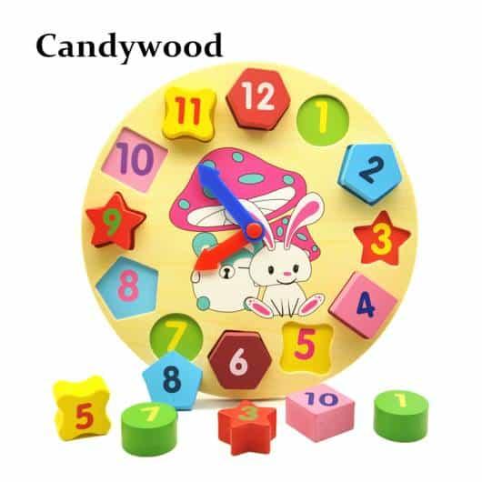 Brinquedo Montessori de madeira: relógio geométrico