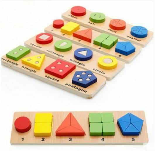 Brinquedo Montessori de madeira: formas coloridas