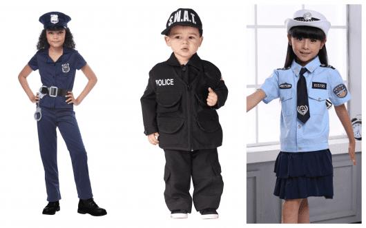 Meninas e meninos de todos os tamanhos podem se fantasia de policial