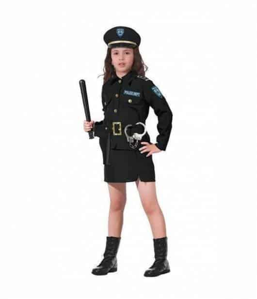 Fantasia de policial preta com quepe