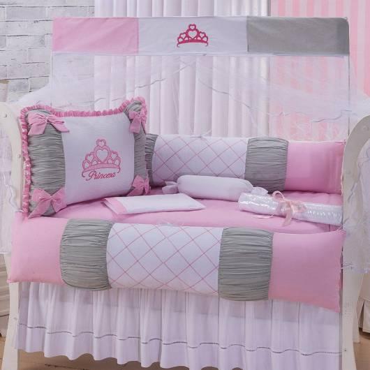 Kit berço menina tema princesa rosa branco e cinza