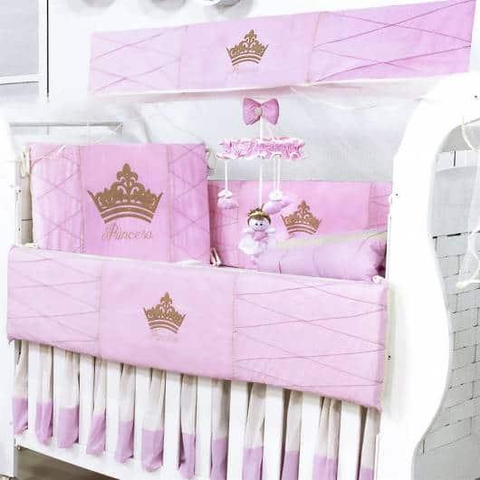 Kit berço menina tema princesa rosa e dourado