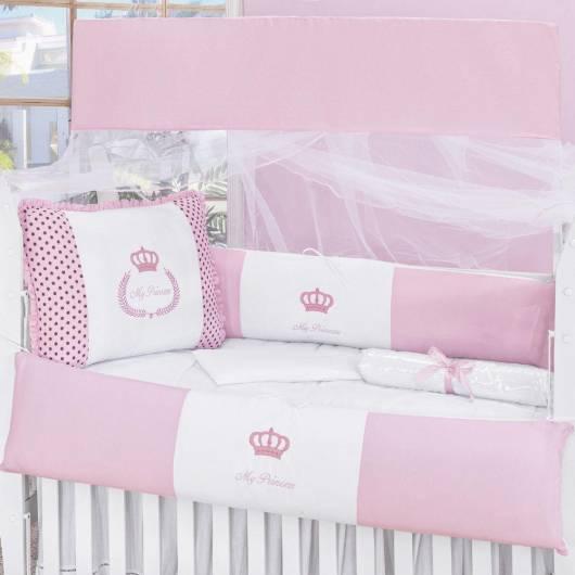 Kit berço menina tema princesa rosa e branco