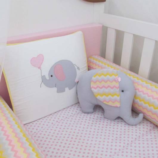 Kit berço menina tema elefantinho em tons pastéis