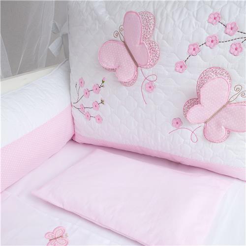 Kit berço menina tema borboleta rosa e branco