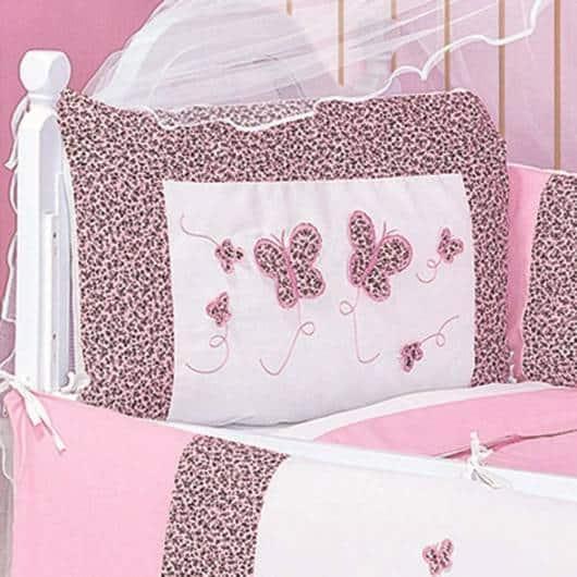 Kit berço menina tema borboleta rosa e animal print