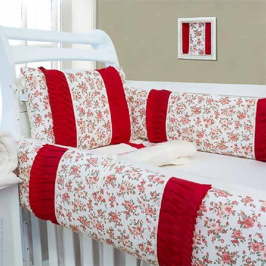 Kit berço menina vermelho tema floral