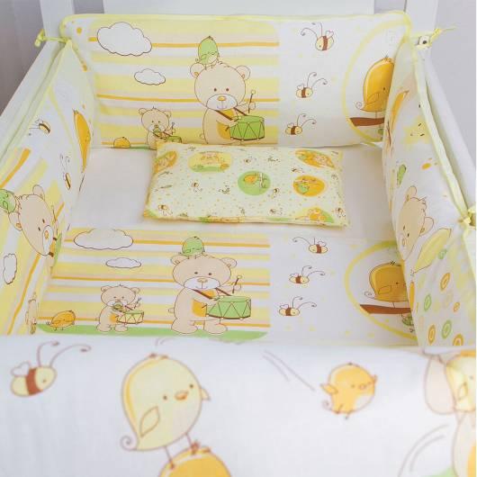 Kit berço menina amarelo tema ursinho