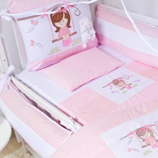 Kit berço menina bordado branco e rosa